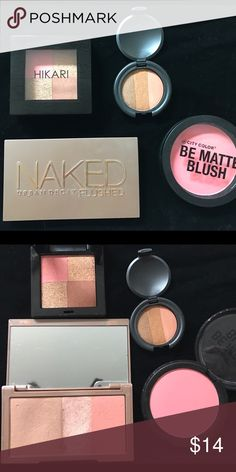 BUNDLE: BRONZERS/HIGHLIGHTER/BLUSH Included is the Naked Urban Decay Flushed palette in Streak (lightly used) , Hikari shimmer bronzer in Radiate(never used), Beauté Basics shimmer bronzer (never used) and the City Color be matte blush in Fresh Melon (never used) Makeup