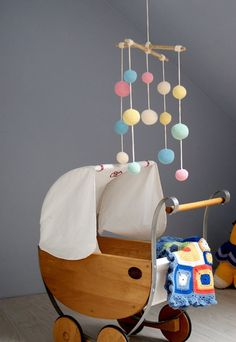 Mobile: Crochet Pastel Baby Mobile - Colorful Ball Mobile - Kids room decoration via Etsy