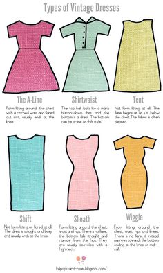 Types of vintage dresses @Krystal Burns and I discussed this not too long ago, sheath dresses!