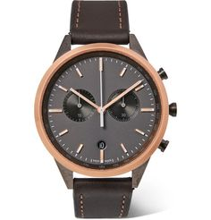 Uniform Wares - Chronograph Stainless Steel and Leather Watch - Men - Black Uniform Wares, Dark Brown Leather, Stainless Steel Case, Fashion Watches, Chronograph, Product Launch, Quartz, Mens Fashion, Jewels
