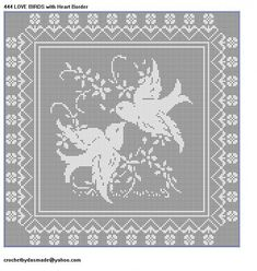 ITEM Love Birds with Heart Border Filet Crochet Doily Mat Pattern Using worsted weight 4 ply yarn and size F hook (approximately 8500 yds) Afghan size x ******* Cross Stitch Bird, Cross Stitch Charts, Cross Stitch Embroidery, Cross Stitch Patterns, Crochet Horse, Crochet Birds, Crochet Stitches, Crochet Patterns, Crochet Edgings