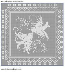 444 LOVE BIRDS FILET CROCHET DOILY MAT AFGHAN PATTERN Heart BordER | CROCHETBYDASMADE - Patterns on ArtFire