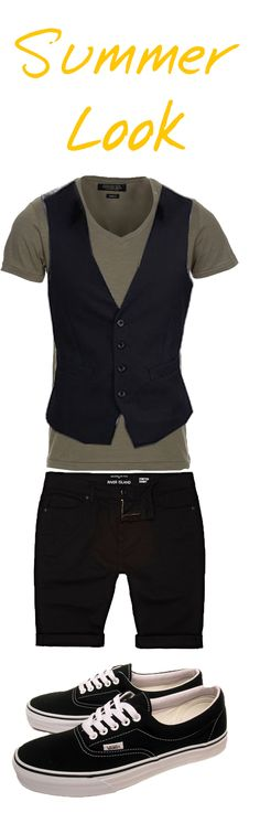 """A darker summer look for those who want high style fashion but in warm weather. Waistcoat buttoned up adds to outfit rather than a """"Vanilla"""" T shirt and Shorts outfit.  Top: http://www.amazon.co.uk/gp/product/B00BLMKZEM/  Waistcoat: http://www.amazon.co.uk/gp/product/B00AF5O0BA/  Shorts: http://eu.riverisland.com/men/shorts/denim-shorts/Black-skinny-stretch-shorts-270871  Shoes """"Vans"""": http://www.amazon.co.uk/Vans-Unisex-Adult-Canvas-Trainer-VJK6Y28/dp/B00307FFKU/"""