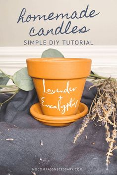 Easy terracotta pot candle home decor with essential oils and soy wax. | No Compass Necessary #diycandles #essentialoilcandles #soywax