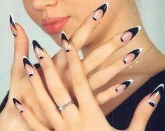 stiletto nails black and white