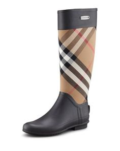 Mixed Media Rain Boot, Housecheck  by Burberry at Neiman Marcus.
