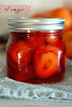 Strawberries in vinegar for salad dressing