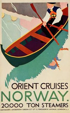 1933 Orient Cruises Norway Bernard Venables Mini Poster Original | eBay
