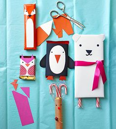 Dressed-up chocolate bars make thoughtful, budget-friendly #gifts. Wrap bars in paper, then download our free templates to trace and cut out features and body parts.