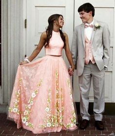 On Sale Fetching Prom Dresses Lace, Pink Tulle Lace Two Pieces Long Prom Dress, Pink Evening Dress Floral Prom Dresses, Prom Dresses Two Piece, Hoco Dresses, Tulle Prom Dress, Wedding Dresses, Pink Dresses, Party Dresses, Winter Prom Dresses, Gold Dress