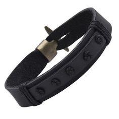 R&B Bijoux - Bracelet Homme - Manchette & Fermoir Style Nautique Vintage - Cuir & Métal (Noir, Or): Amazon.fr: Bijoux