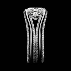 Alexandra Mor Double-Shank Floating Radiant-Cut Diamond Gold Platinum Ring 4
