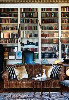 Gorgeous mix of velvet pillows and sofa in the library.