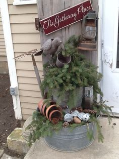 christmas outside outside christmas decorations christmas planters christmas porch primitive christmas country - Primitive Christmas Outdoor Decoration