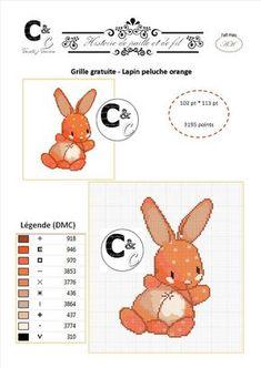 Grille gratuite point de croix - Doudou lapin orange