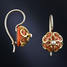 Antique 14k Yellow Gold, Pearl And Coral Drop Earrings