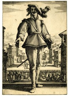 Il Capitano, or l'Innamorato: standing man, facing front, wearing hat adorned with feathers, with left hand resting on sword's handle, without mask; in the background, a crowd attending a theatre performance. c.1618/20 Etching with some engraving Producer namePrint made by: Jacques Callot biography School/styleFrench Date1618-1620 (circa)