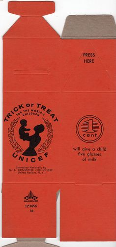 I always brought along a UNICEF box when I went trick-or-treating...everyone was happy to give. Vintage Unicef Trick or Treat Halloween Box by emeraldtoys, via Flickr