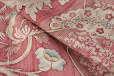 French printed linen 18th floral stripe bed curtain Indienne block print LOVELY