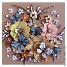 Картина панно рисунок Квиллинг С бабочками Бумажные полосы фото 1