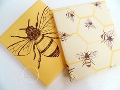Honey Bee Mustard Printable Gift Wrap Papers by CorissaNelsonArt