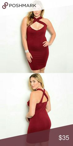 """[Plus] CrissCross Sweetheart Bodycon Dress Color is burgandy. 95% poly 5% spandex. Length 42"""". True to size.   Please allow and extra 3 days for mailing.   Bodycon ribbed lines dress. Crisscross yoke. Semi-sweetheart neckline.  1X = 14/16 2X = 18/20 3X = 22/24 Boutique Dresses Midi"""