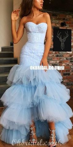 Sweetheat High-low Sexy Mermaid Backless Tulle Prom Dresses, FC4131#prom #promdress #2020prom #promdresses #eveningdresses #longpromdress #newestpromdresses Prom Dresses Long Pink, Deb Dresses, Pretty Prom Dresses, Simple Prom Dress, High Low Prom Dresses, Formal Dresses For Teens, Tulle Prom Dress, Party Dresses For Women, Strapless Dress Formal