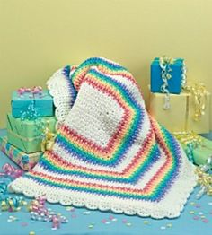 Rainbow Baby Afghan By Joyce Hopkins - Free Crochet Pattern - (ravelry)...Love this color combination...