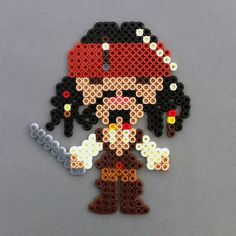 Captain Jack Sparrow Perler Bead Magnet, Pirates of the Caribbean cute