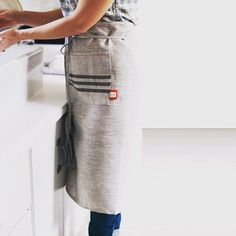 This heirloom kitchen apron is crafted with durable and luxurious linen and hand printed by @celina_mancurti - comes in both short and long versions. A perfect compliment to some home cooking! BRIKA.com/new by shopbrika
