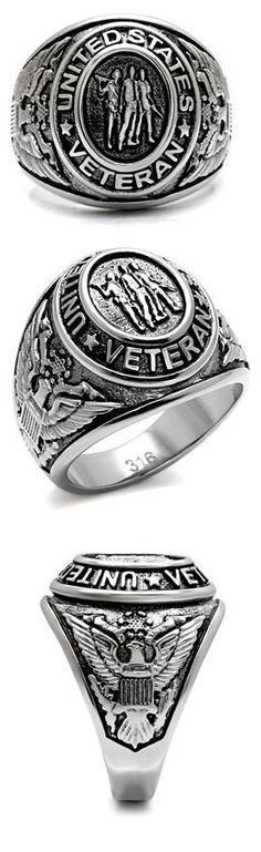 MILITARY RING - Stainless Steel United States Veteran Mens Ring, $17.49.