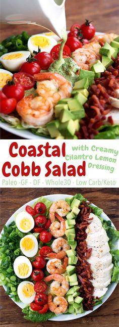Cobb salad goes coastal! Shrimp, bacon, avocado, and more - topped with a creamy cilantro lemon dressing. Paleo, Whole30, gluten free, dairy free, low carb!