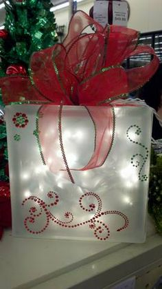 red and green glass christmas block