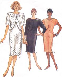 80s Vogue Sewing Pattern 9617 Womens Straight Dress by CloesCloset, $9.00