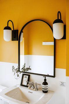 Mustard color block bathroom design at Coast Wine House in Columbus Ohio Colour Blocking Interior, Wine House, Yellow Bathrooms, Upstairs Bathrooms, Bathroom Interior Design, Yellow Bathroom Interior, Bathroom Colors, Bathroom Inspiration, House Design