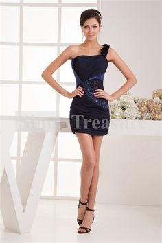 Dark Navy Chiffon/ Lace Beading One Shoulder Cocktail Dress/ Homecoming Dress Wholesale Price: US$139.99