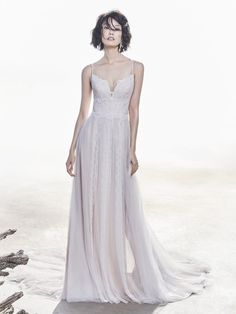 Sottero and Midgley - OLSON, This romantic sheath wedding dress features unique lace atop tulle. Chic spaghetti straps glide from sweetheart neckline to illusion back accented in lace motifs. Finished with crystal buttons over zipper closure. Boho Wedding Dress, Designer Wedding Dresses, Bridal Dresses, Wedding Gowns, Bridesmaid Dresses, Casual Wedding, Sottero And Midgley Wedding Dresses, Sottero Midgley, Princess Bridal