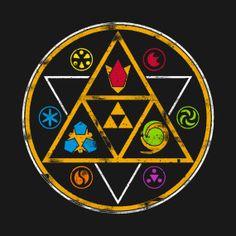 Legend of Zelda Ocarina of Time logo emblem art > triforce, kokiri emerald, goron ruby, zora sapphire, the sage medallions The Legend Of Zelda, Legend Of Zelda Tattoos, Legend Of Zelda Breath, Video Game Tattoos, Video Game T Shirts, Video Game Art, Zora Zelda, Ocarina Of Times, Gaming Tattoo