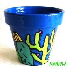 Risultati immagini per manjula macetas Painted Clay Pots, Painted Flower Pots, Garden Deco, Garden Pots, Terracotta Plant Pots, Pot Jardin, Cactus Pot, Fun Crafts To Do, Clay Pot Crafts