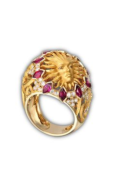 Ring Cupula sol  SO 1705.1     Yellow Gold 18KT, diamonds and rubies #Magerit #VersaillesCollection #jewels