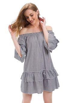 03631a7349 Tsher Women's Solid Color Short Sleeve Summer Casual Loose Off Shoulder  Mini Dress 0023 (Black, L)