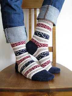 Ravelry: Project Gallery for Ukrainian Socks pattern by Nancy Bush Crochet Socks, Knitting Socks, Hand Knitting, Knit Crochet, Sock Toys, Thick Yarn, Crazy Socks, Patterned Socks, Fair Isle Knitting