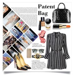"""""""patent bags"""" by thestylizer ❤ liked on Polyvore featuring Louis Vuitton, Bobbi Brown Cosmetics, Christian Louboutin, Versace, Ray-Ban, Michael Kors, COVERGIRL and PatentBag"""