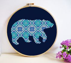 Bear Mosaic Cross Stitch Pattern PDF Instant Download by HeritageStitch on Etsy