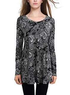 BAISHENGGT Women's Flared Comfy Loose Fit Tunic Top Small...