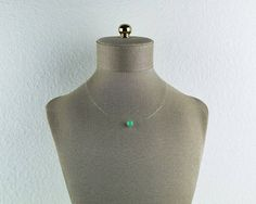 Floating Chrysoprase Invisible Necklace Tiny Stone Necklace