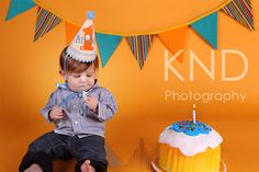 Boys First Birthday Hat  Yellow stripes with blue by daintycouture, $25.00
