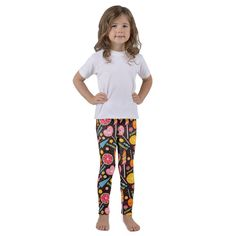 These soft polyester/spandex kids leggings are just perfect for active kiddos. Lollipops, Polyester Spandex, Kids Fashion, Pajama Pants, Leggings, Dark, Color, Shopping, Tootsie Pops