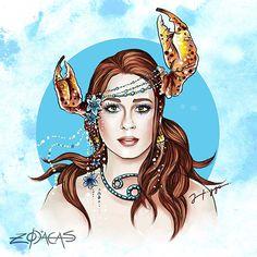 Zodiaca de Câncer - Inspiração: Marina Ruy Barbosa  #marinaruybarbosa  #illustration #ilustracao #atriz