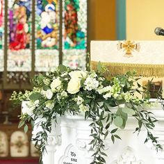 Pulpit arrangement at St Mary's Church of Ireland in Tipperary Town #weddingdetails #churchflowers #irishflorist #irishwedding #tipperarywedding #bloomsdayflowers